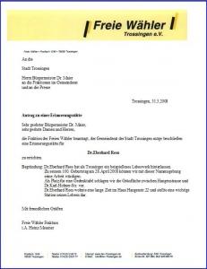 Antrag der Freien Wähler: Gedenkstätte für Dr. Eberhard Rees